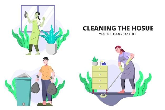 Ruim het huis op - activiteit vectorillustratie
