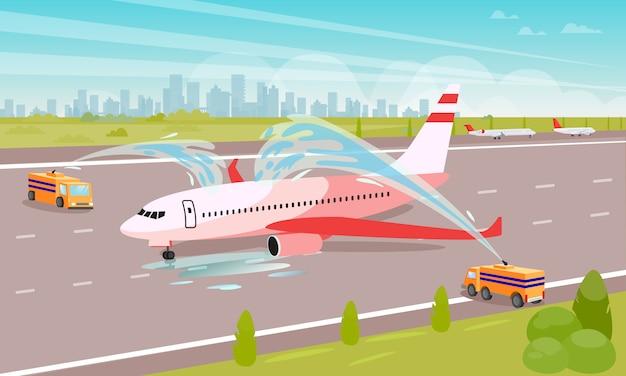 Ruim vliegtuig op parkeren vlakke illustratie op.