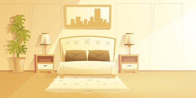 Ruime, zonnige slaapkamer interieur cartoon vector met bont tapijt op verdieping
