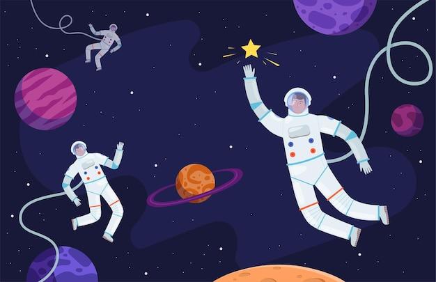 Ruimte achtergrond. astronaut in pak aan het werk aan asteroïden of professionele maankosmonaut
