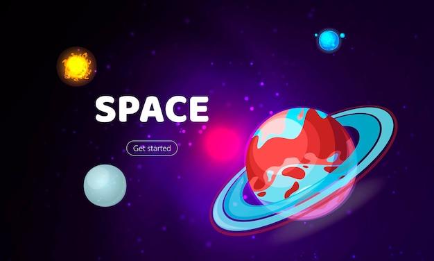 Ruimte achtergrondkosmos met planeten