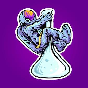 Ruimte astronaut bong ripper illustraties