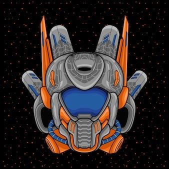 Ruimte astronaut robot hoofd illustratie