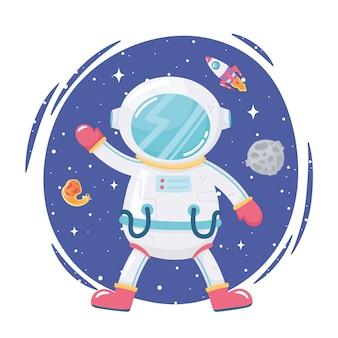 Ruimte avontuur cartoon astronaut maan raket en komeet illustratie Premium Vector