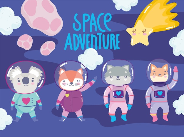 Ruimte avontuur schattige vos kat wasbeer kat met astronaut pak cartoon afbeelding