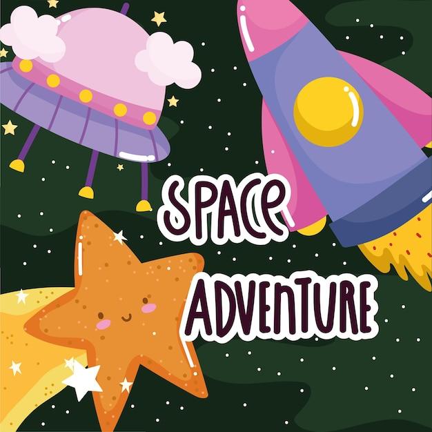 Ruimte avontuur ufo ruimteschip vallende ster schattige cartoon