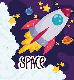 Ruimte cartoon lancering ruimteschip planeten verkenning reizen illustratie