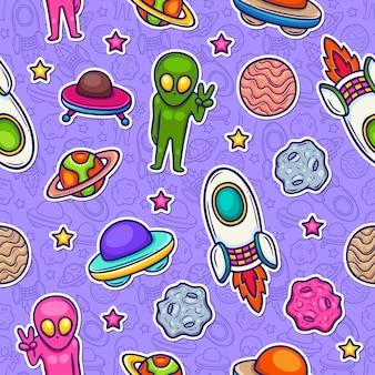 Ruimte doodle kleurrijke naadloze patroon