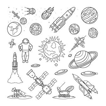 Ruimte doodle lineaire pictogrammen