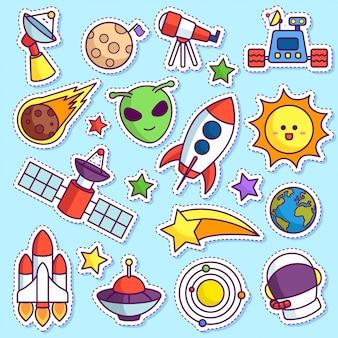 Ruimte doodle sticker patch