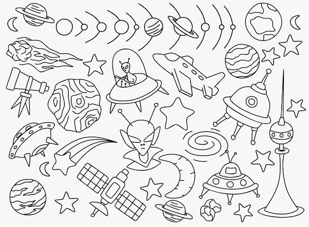 Ruimte doodles set