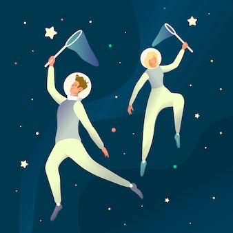 Ruimte dromen illustartion. futuristische illustratie met jonge kosmonauten vangen sterren in de ruimte. fantasy scene concept, droomwereld