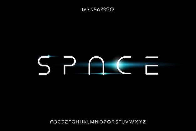 Ruimte, een abstract futuristisch alfabetlettertype met technologiethema. modern minimalistisch typografieontwerp