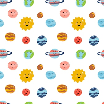 Ruimte element naadloos patroon in cartoon platte kinderachtige stijl planeet aarde venus mercury jupiter