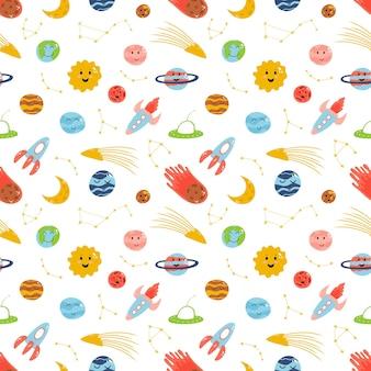Ruimte-elementen naadloos patroon in cartoon platte kinderachtige stijl met planeten raket meteoriet