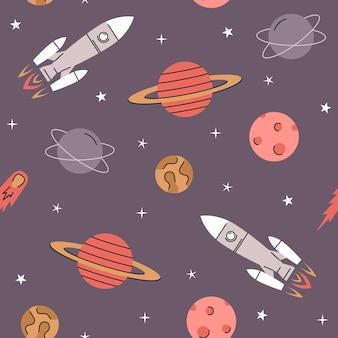 Ruimte elementen naadloos patroon met raketten planeten sterren en komeet kosmos achtergrond