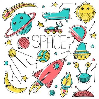 Ruimte en kosmos naadloze patroon naadloze patroon in doodle stijl