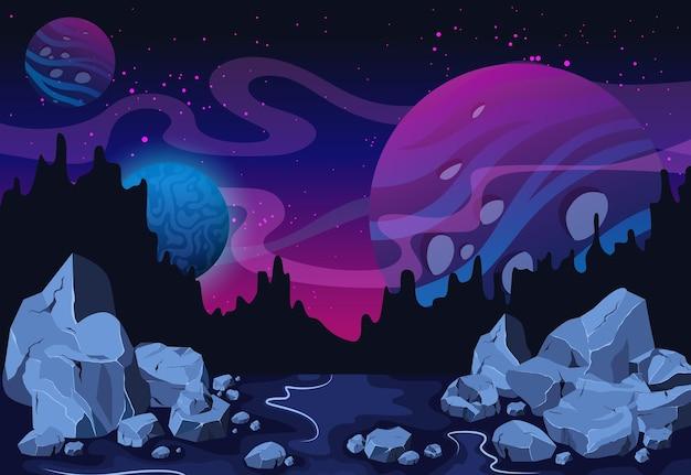 Ruimte en planeet buitenaards fantastisch landschap