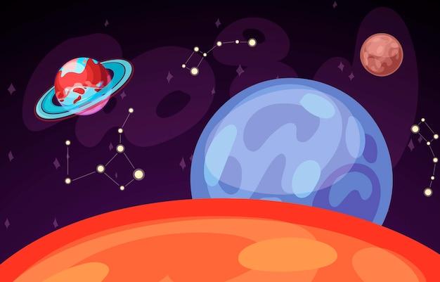 Ruimte en planeet landschap vectorillustratie. planeten oppervlak met kraters, sterren en kometen in donkere ruimte. ruimtehemel met saturnus, aarde en venus en sterrenbeeld.