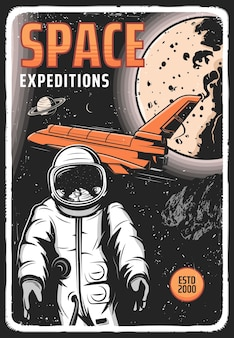 Ruimte-expeditie retro poster met astronaut in de kosmos, shuttle en planeten.