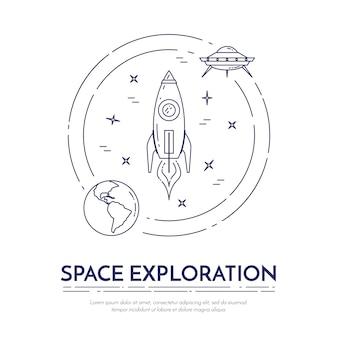 Ruimte-exploratie lijn banner met kosmos thema-pictogrammen.