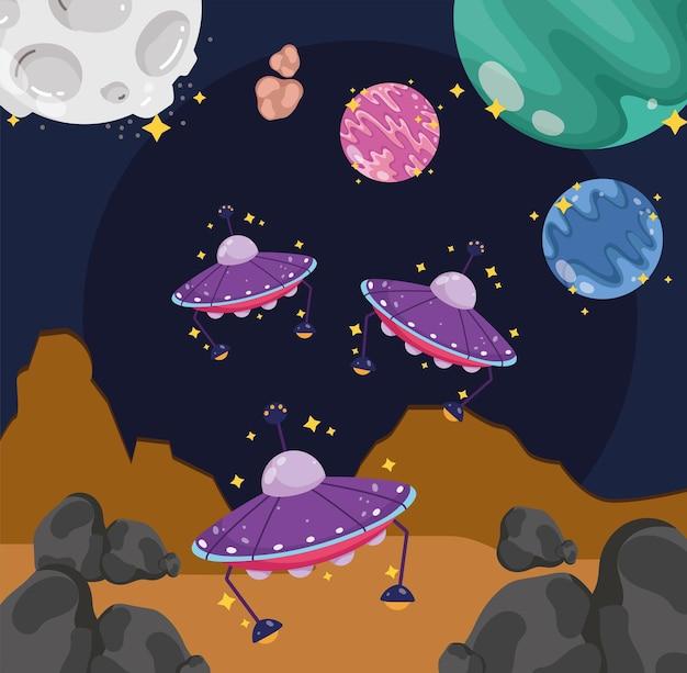 Ruimte-exploratie ufos maan planeten aarde cartoon afbeelding