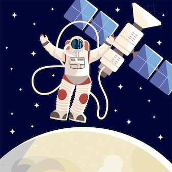 Ruimte-explorer, astronaut satelliet maan universum illustratie