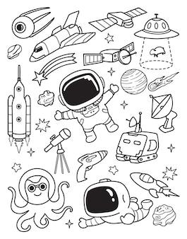 Ruimte galazy elementen doodle set