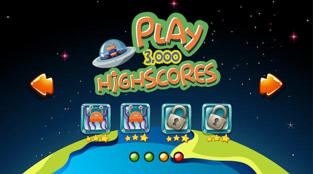 Ruimte highscores game achtergrond