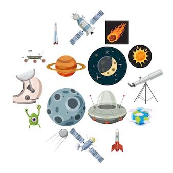 Ruimte iconen set, cartoon stijl