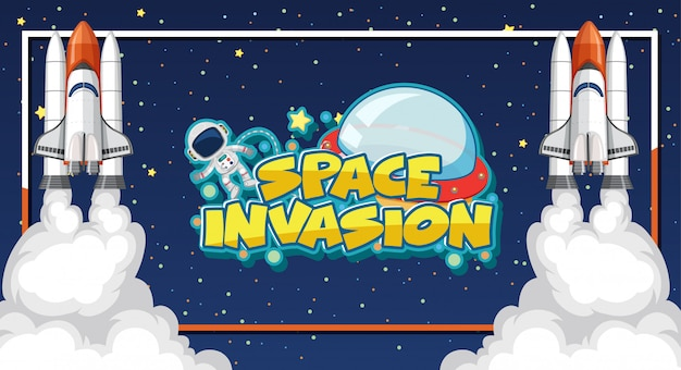 Ruimte-invasiesjabloon met astronaut en twee ruimteschepen