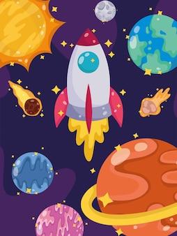 Ruimte lancering ruimteschip planeten komeet maan en zon cartoon afbeelding
