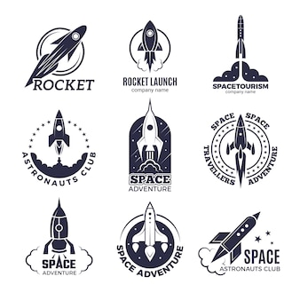 Ruimte logo's. raketten en vlucht shuttle maan ontdekking business retro badges vector zwart-wit foto's