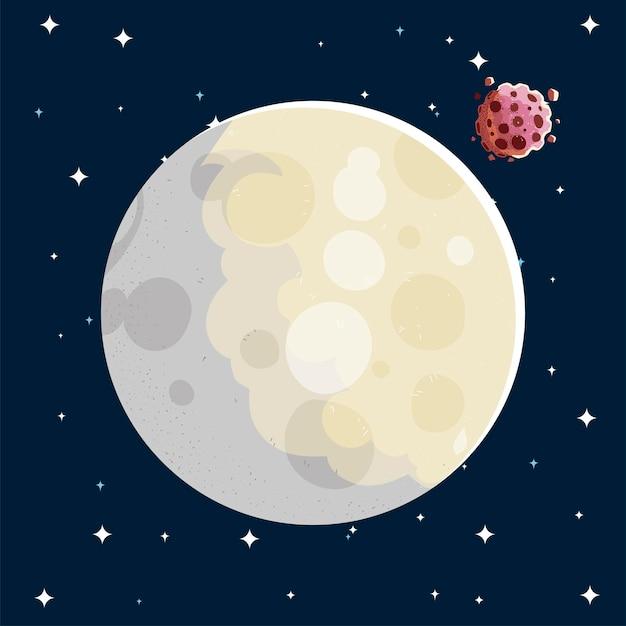 Ruimte maan en asteroïde melkwegstelsel zonne-illustratie