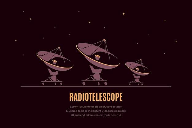 Ruimte met radiotelescoop. ruimteonderzoeksbanner, verkenning van de buitenruimte.