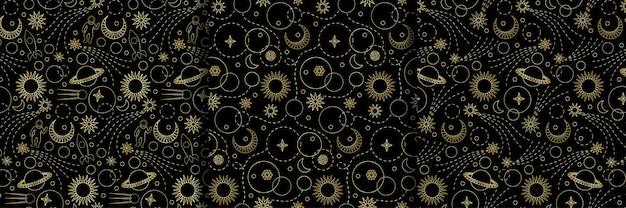 Ruimte naadloze patronen ingesteld voor achtergronden wallpapers textiel prints