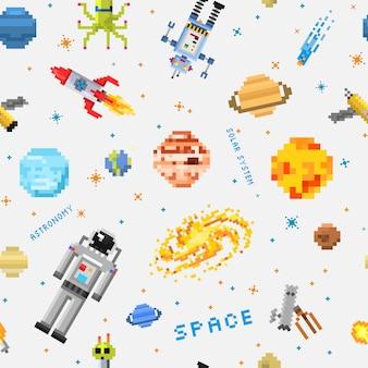 Ruimte naadloze patroon achtergrond, buitenaardse ruimtevaarder, robot raket en satelliet kubussen zonnestelsel planeten pixelart, digitale vintage spelstijl.