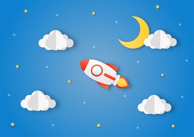 Ruimte nachtelijke hemel. maan, sterren, wolken, raket en wolken om middernacht. papier kunststijl.