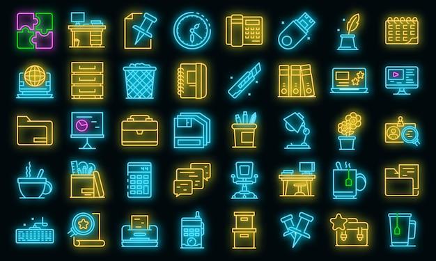 Ruimte organisatie pictogrammen instellen. overzicht set van ruimte organisatie vector iconen neon kleur op zwart