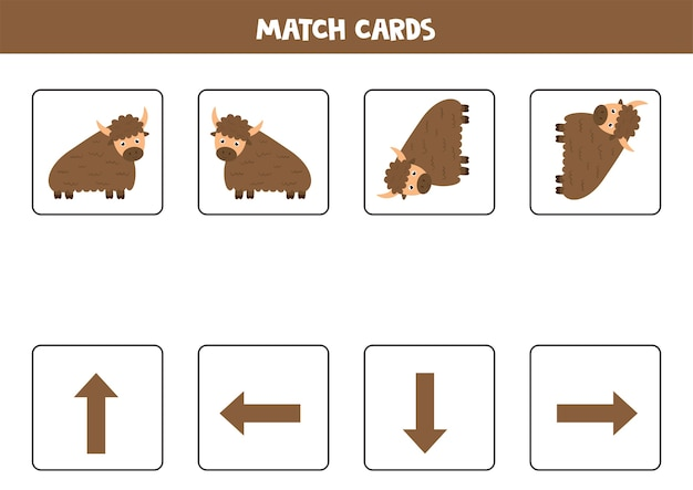 Ruimte oriëntatie met cartoon yak links rechts omhoog of omlaag educatief spel