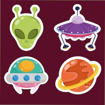 Ruimte planeet buitenaardse ufo ruimteschip avontuur sticker cartoon pictogrammen instellen afbeelding
