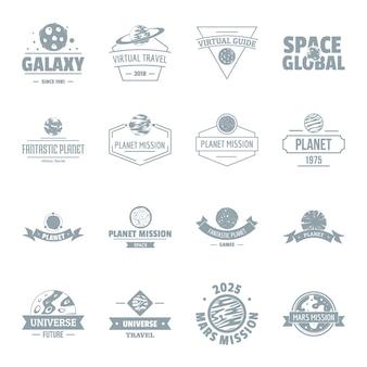 Ruimte planeet logo pictogrammen instellen