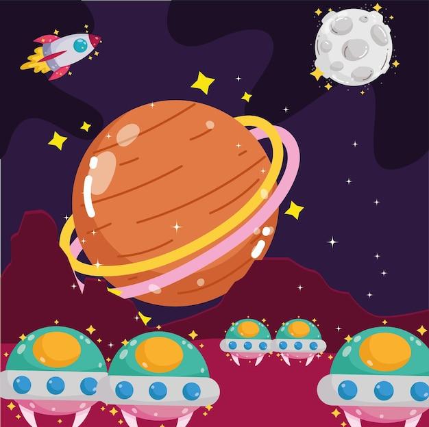 Ruimte planeet maan raket en ufo-schepen verkennen cartoon afbeelding