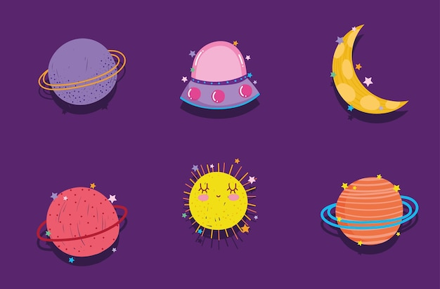 Ruimte planeet maan ufo avontuur verkennen cartoon pictogrammen illustratie