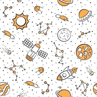 Ruimte, planeten, sterren en raketten. kosmisch naadloos patroon in doodle en cartoon-stijl.