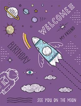 Ruimte planeten sterren kosmonaut ruimteschip vlucht line art poster of uitnodiging ontwerp