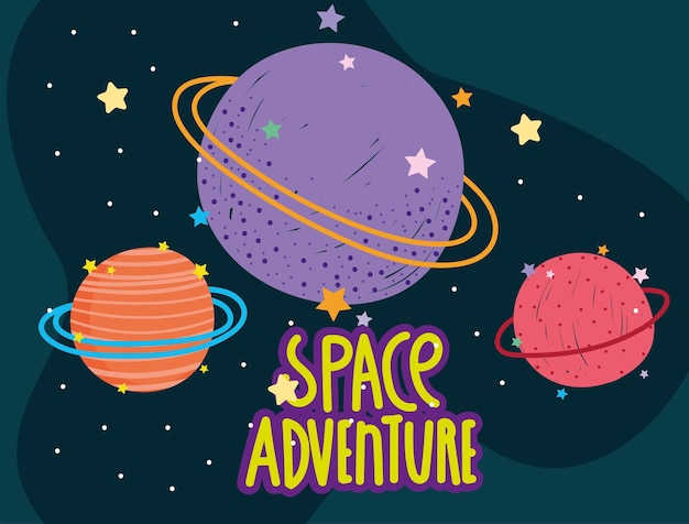 Ruimte planeten sterren melkweg avontuur verkennen cartoon illustratie