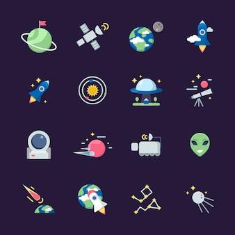 Ruimte plat pictogrammen. telescoop satelliet ruimteschip aarde zon en planeten uitzicht vanaf observatorium illustraties
