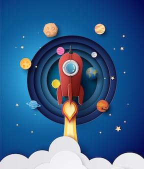 Ruimte-raketlancering en sterrenstelsel.