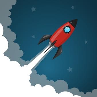 Ruimte raketlancering naar de nachtelijke hemel, sterren en wolken op de achtergrond.